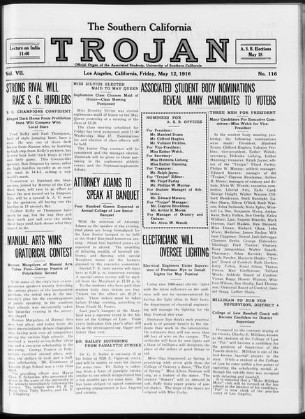 The Southern California Trojan, Vol. 7, No. 116, May 12, 1916