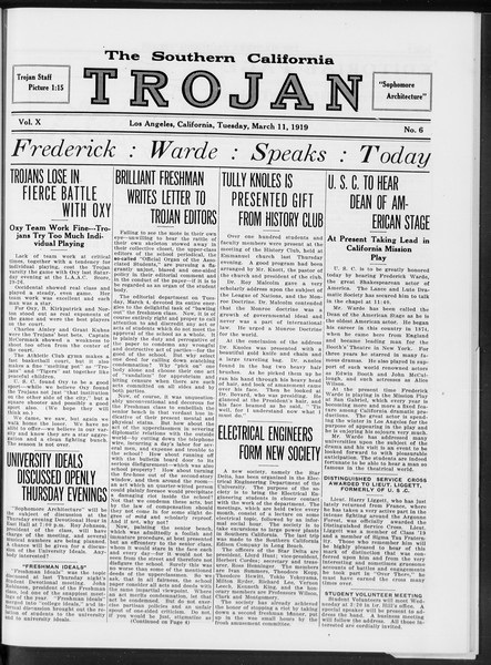 The Southern California Trojan, Vol. 10, No. 6, March 11, 1919
