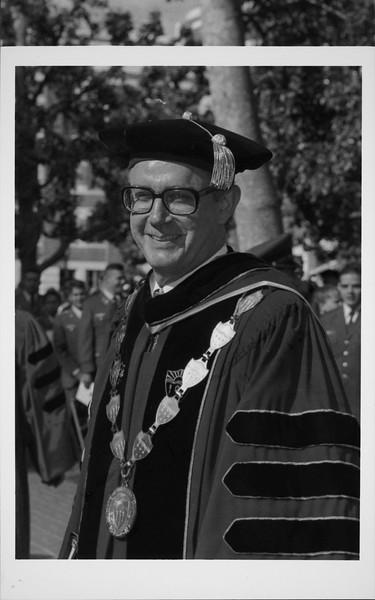President Steven B. Sample in academic regalia, ca. 1981-2007