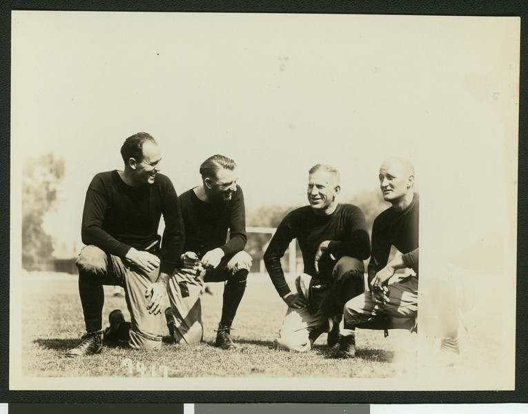 University of Southern California football coaching staff for 1929 varsity team, Bovard Field, USC campus, 1929.