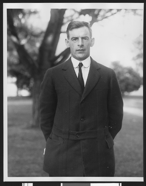 University of Southern California assistant football coach E. A. Irvine, USC campus, Los Angeles, 1915.