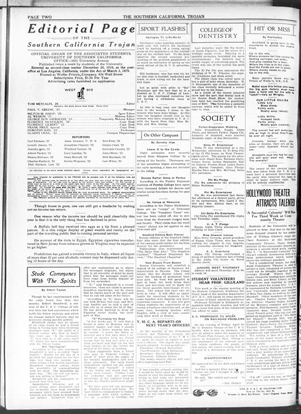 The Southern California Trojan, Vol. 11, No. 88, April 27, 1920