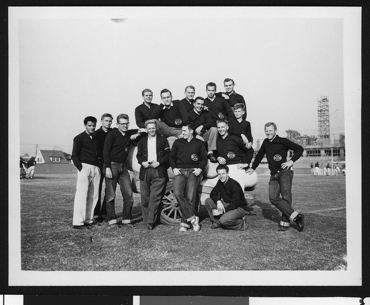 University of Southern California football management staff (not coaches) informal picture #2, 1949 season, on Bovard Field, USC campus.