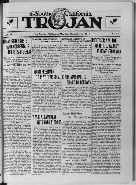 The Southern California Trojan, Vol. 11, No. 14, November 03, 1919