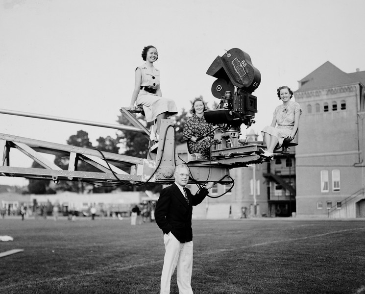 Cinematography professor Boris Markovin with students, USC, ca. 1937