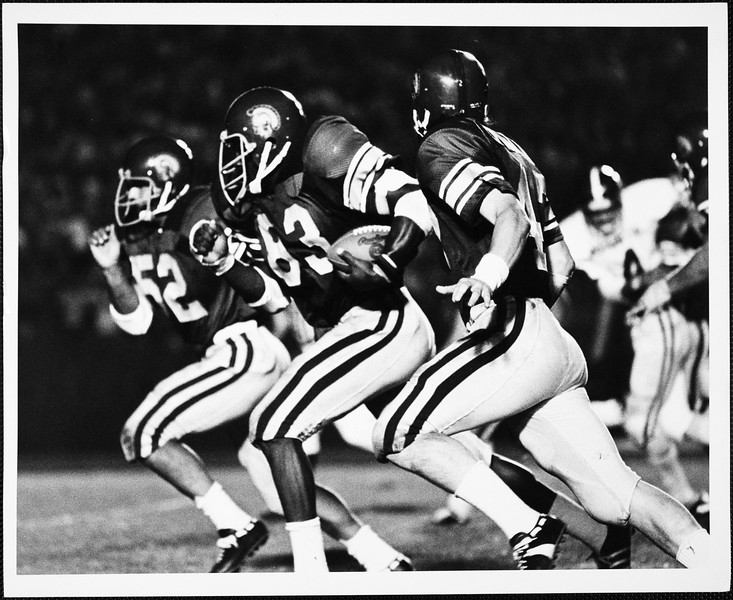 USC football players during a game, 1972