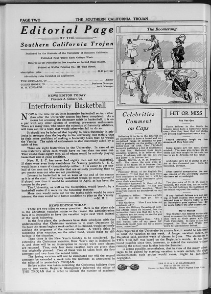 The Southern California Trojan, Vol. 11, No. 32, December 11, 1919