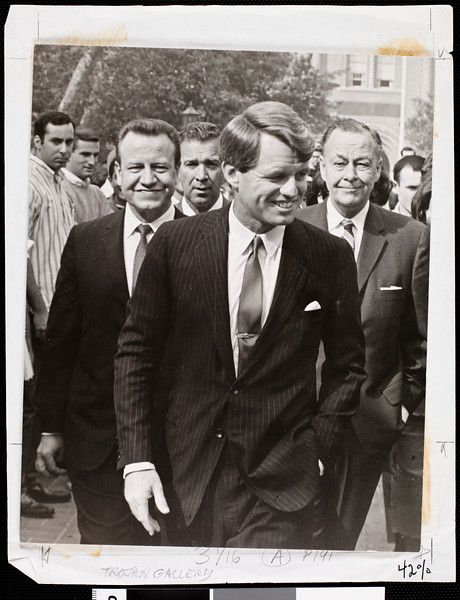 Robert F. Kennedy, Jesse Unruh and President Topping at the USC campus, 1965