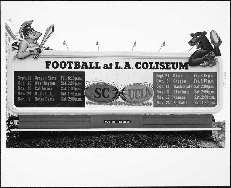 """Football at L.A.  Coliseum"" score board, USC, 1956"