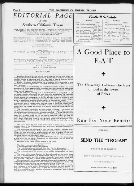 The Southern California Trojan, Vol. 8, No. 3, September 21, 1916