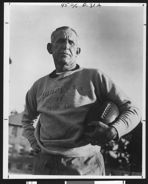 University of Southern California football coach Howard Jones, in grey sweatshirt, face shot, mid 1930s.