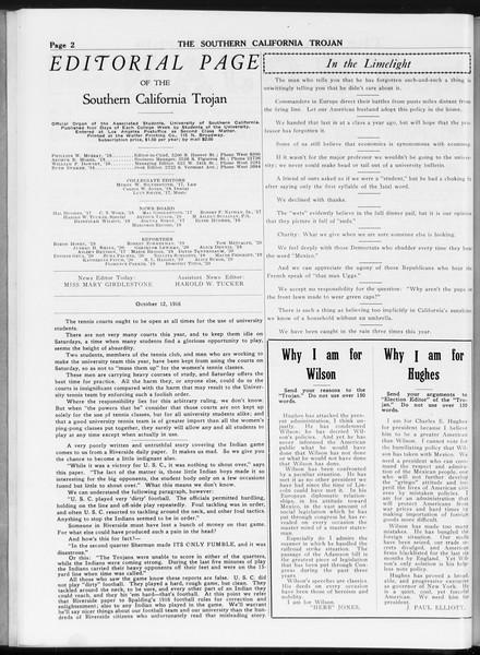 The Southern California Trojan, Vol. 8, No. 15, October 12, 1916