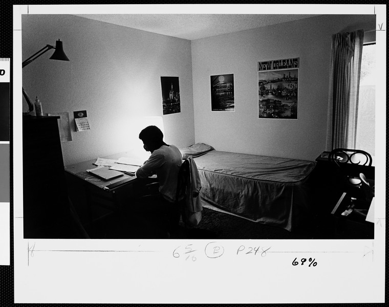 Student in a dormitory, USC, 1977
