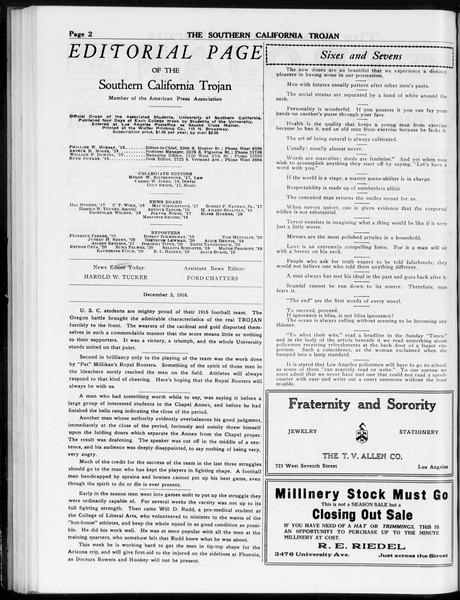 The Southern California Trojan, Vol. 8, No. 41, December 05, 1916