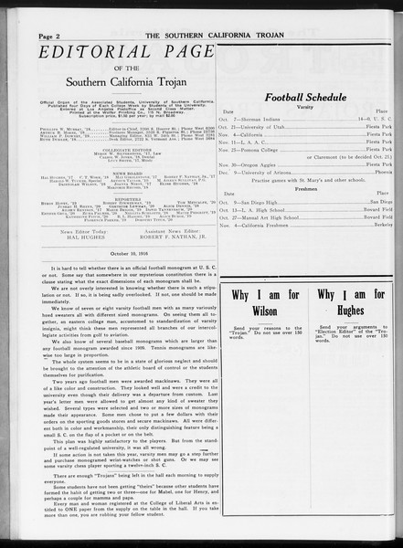 The Southern California Trojan, Vol. 8, No. 13, October 10, 1916