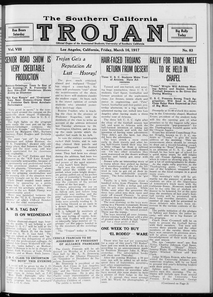 The Southern California Trojan, Vol. 8, No. 83, March 16, 1917