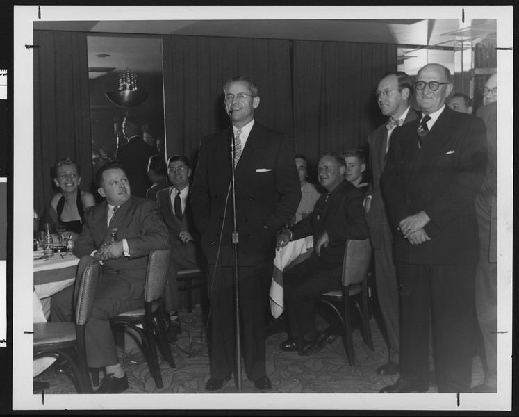 University of Southern California football coach Jess Hill speaking at the New York Trojan Alumni Club meeting, New York, 1951.