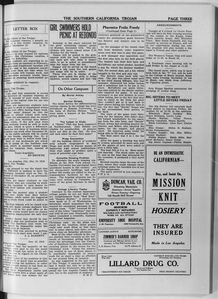 The Southern California Trojan, Vol. 11, No. 32, December 11, 1919