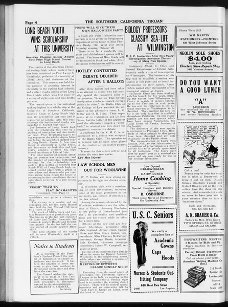 The Southern California Trojan, Vol. 8, No. 24, October 27, 1916