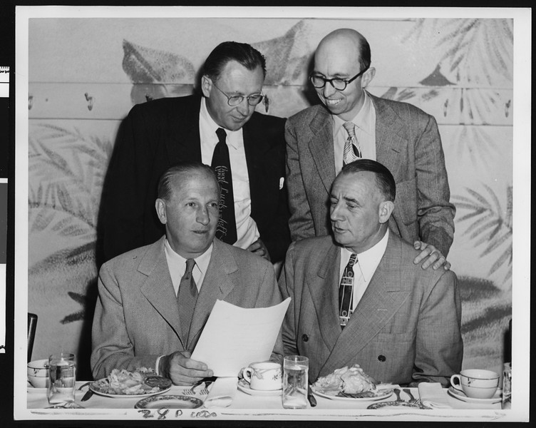 Farewell dinner for University of Southern California football coach Jeff Cravath?, Los Angeles, 1950.