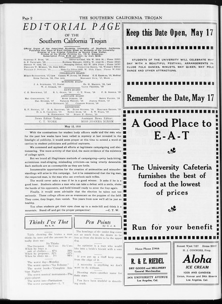 The Southern California Trojan, Vol. 7, No. 116, May 12, 1916