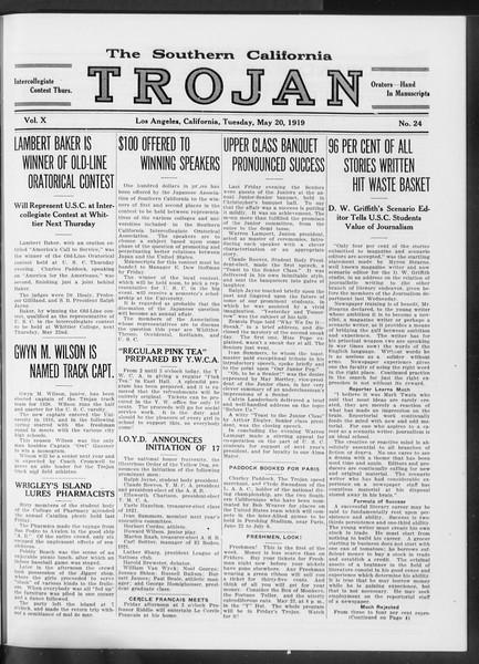 The Southern California Trojan, Vol. 10, No. 24, May 20, 1919