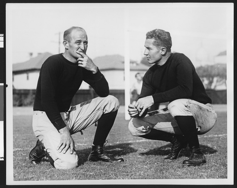 University of Southern California assistant football coaches Bill Hunter and Gordon Campbell, Bovard Field, USC campus, 1928.