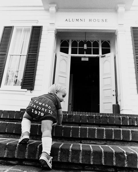 13-month  Erik Ward climbing the steps of Widney Alumni House, USC, 1979