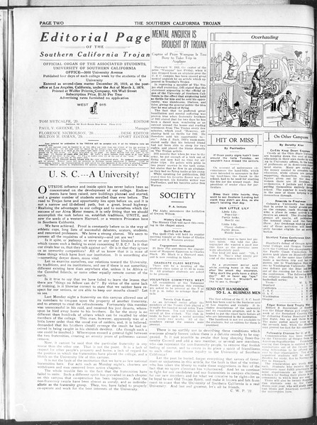 The Southern California Trojan, Vol. 11, No. 68, March 11, 1920