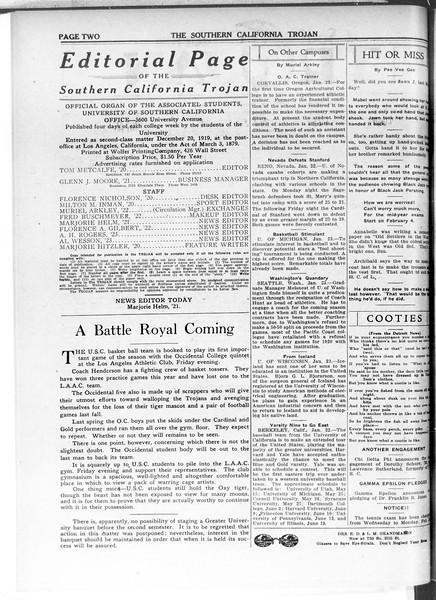 The Southern California Trojan, Vol. 11, No. 50, January 28, 1920
