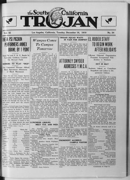 The Southern California Trojan, Vol. 11, No. 34, December 16, 1919