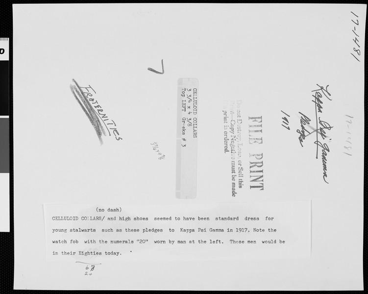 Five USC Kappa Psi Gamma pledges, 1917