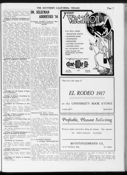 The Southern California Trojan, Vol. 7, No. 125, May 29, 1916
