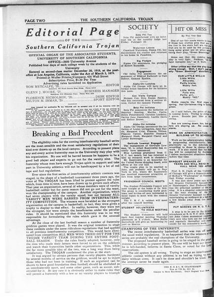 The Southern California Trojan, Vol. 11, No. 60, February 26, 1920