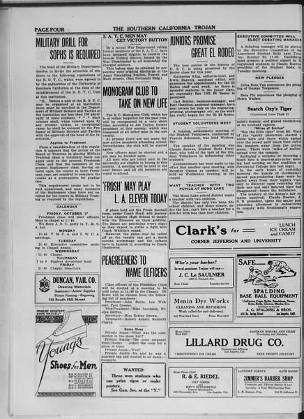 The Southern California Trojan, Vol. 11, No. 5, October 17, 1919