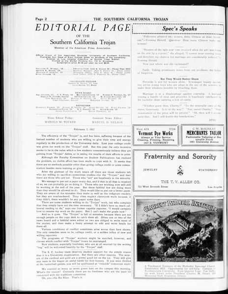 The Southern California Trojan, Vol. 8, No. 63, February 07, 1917