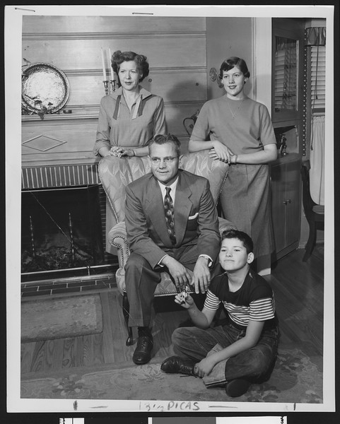 University of Southern California football coach Jess Hill with his family at home, San Gabriel, California, 1951.
