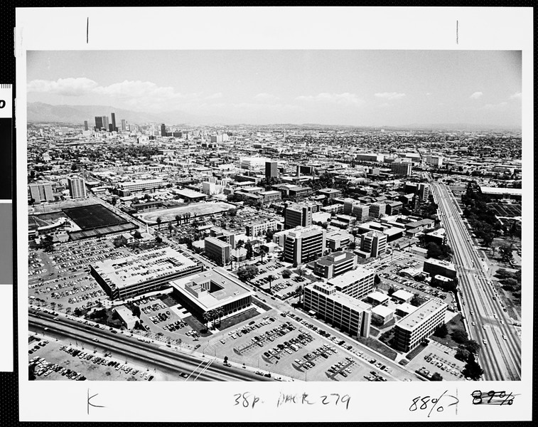 Aerial view of campus, USC, 1977
