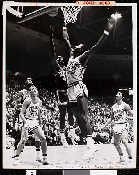 Court-side view of University of Southern California versus University of California Irvine basketball game, [s.d.]