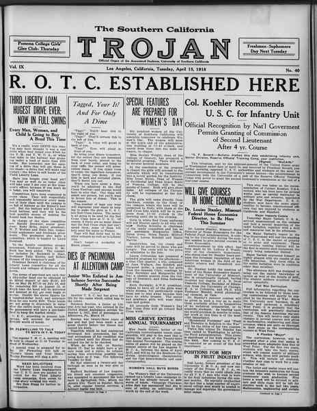 The Southern California Trojan, Vol. 9, No. 40, April 15, 1918