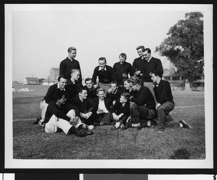 University of Southern California football management staff (not coaches) informal picture #1, 1949 season, on Bovard Field, USC campus.