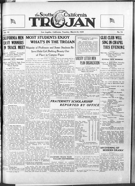 The Southern California Trojan, Vol. 11, No. 74, March 23, 1920