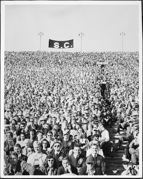 Football fans in stands at the Coliseum, [s.d.]