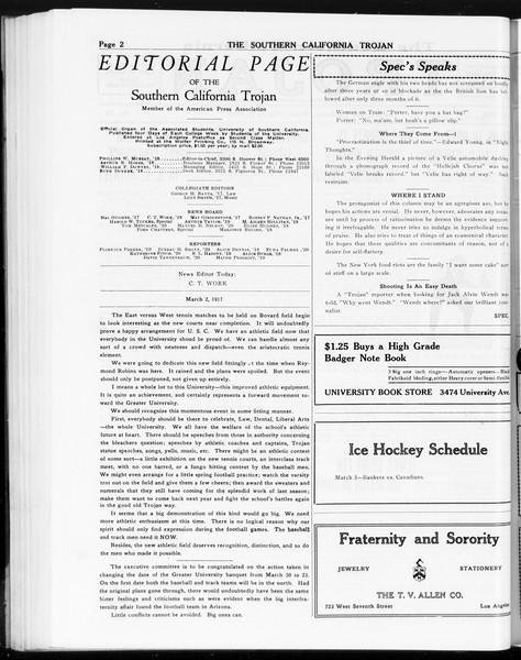 The Southern California Trojan, Vol. 8, No. 75, March 02, 1917