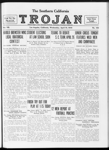 The Southern California Trojan, Vol. 7, No. 102, April 19, 1916