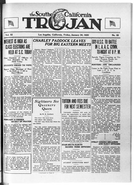 The Southern California Trojan, Vol. 11, No. 52, January 30, 1920