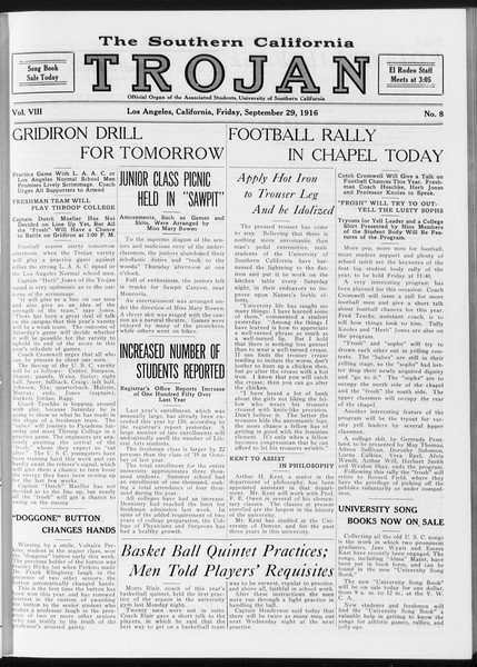 The Southern California Trojan, Vol. 8, No. 8, September 29, 1916