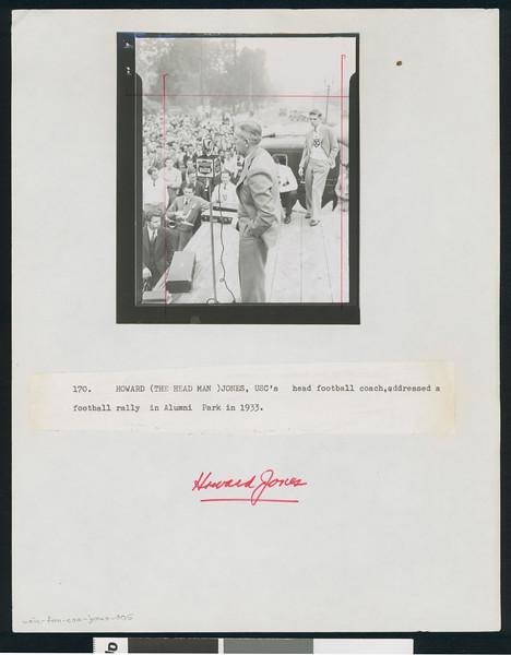 University of Southern California football coach Howard Jones addresses a football rally in Alumni Park, Los Angeles, 1933.