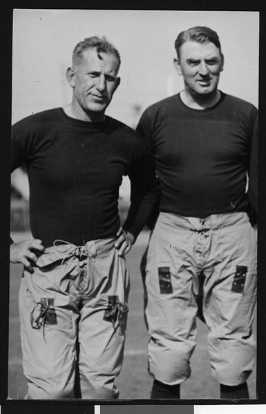 University of Southern California football coach Howard Jones and assistant football coach Sam Barry, Los Angeles, 1929