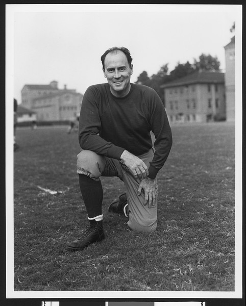 University of Southern California assistant football coach Ciff Herd, Bovard Field, USC campus, 1932.